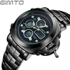 Luxury GIMTO Mens Watches Reloj Digital Quartz LED Analog Watches Stainless Steel Luminous Alarm Clock Men Army Military GM205 - Shopping Bargains
