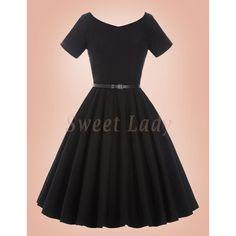 Roztomilé čierne retro šaty s áčkovou sukňou