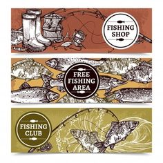 Buy Fishing Horizontal Banners by macrovector on GraphicRiver. Hand drawn horizontal banners of fishing shop with equipment free fishing area with fishes and club vector illustrati. Fishing Shop, Boy Fishing, Fish Banner, Fish Logo, Fish Illustration, Vector Portrait, Vector Pattern, Vector Free, How To Draw Hands