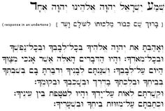 "Deuteronomy 6:4-9, The Shema: First Passage, scroll to bottom for the ""Shema Study Page (First Part)"", it has English Translation, Transliteration, and Hebrew all on one page."