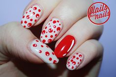 70 New Ideas Nails Christmas Red Polka Dots French Nail Designs, Acrylic Nail Designs, Nail Art Designs, Acrylic Nails, Dot Nail Art, Polka Dot Nails, Polka Dots, Red Dots, Red Nose Day
