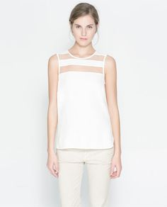 Image 1 of TOP WITH SHEER STRIPE from Zara