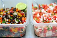 Black Bean Confetti Salad    This works equally well as a small salad–even tossed with salad greens for more bulk–or alongside salsa fresca for scooping up with a tortilla chip.    2 15-ounce cans black beans, drained and well-rinsed  4 bell peppers, a mix of colors, chopped into a small dice  1/2 super-large or 1 medium white onion, chopped into a small dice  Juice of one lime  3 tablespoons olive oil  1 teaspoon ground cumin  3/4 teaspoon salt  1/2 teaspoon honey  1/8 teaspoon cayenne…