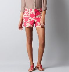 LOVE these shorts. I just got them from LOFT a few weeks ago. Pair them with a hot pink or white shirt. Super cute for summer!