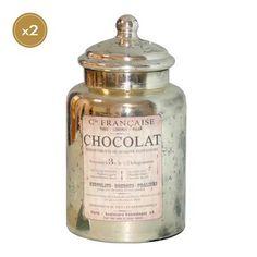 Set of 2 Chocolat Glass Jars with Lids