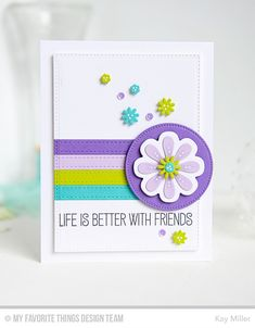 Better with Friends Card by Kay Miller Featuring the Laina Lamb Designs Tickled Pink stamp set and the Flower Medley and the Spring Garden Die-namics #mftstamps
