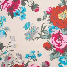 Cashmere Colored Floral Printed Cotton Sateen