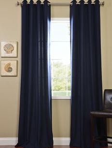 Navy Grommet Cotenza Faux Cotton Curtain Panel