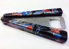 www.BBbarfly.com - Dragon Blue on Black Handles #BBbarfly #BottleOpener #Balisong #ButterflyKnife #Beer #Cheers #Fun #Dragon #Black #Gift #GiftIdeas Butterfly Knife, Blue Dragon, Bottle Openers, Me Me Me Song, B & B, Cheers, Personalized Items, Fun, Gifts