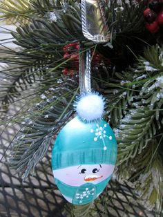 Hand Painted Spoon Snowman With Aqua Hat and by YewtinselsNSilver, $10.00