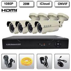 CCTV 1080P 2MP IR Network IP Camera 4CH NVR Security Surveillance Video System