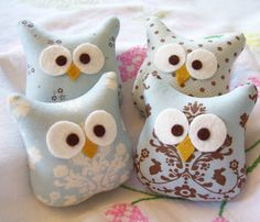 Four Little Blue and Brown Stuffed Owl Ornaments