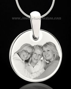 silver round photo engraved pendant necklace
