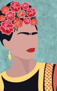 Carta da Parati Floreale Ritratto di Frida Kahlo | Hovia IT