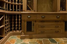 Custom Wine Cellar - Custom wine cellar cabinetry detail demonstrating wide drawers and countertops Pleasant Ln., Glenview, Glenview Haus Photo Gallery, Chicago