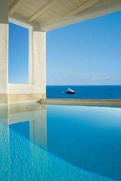 beach cabana over the pool ~ Mykonos Blu