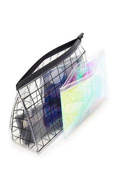 Grid Print Makeup Bag Set