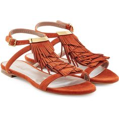Chloé Fringed Suede Sandals (295 CAD) ❤ liked on Polyvore featuring shoes, sandals, flats, camel, suede shoes, strap sandals, low heel evening shoes, strappy flats and flat evening sandals