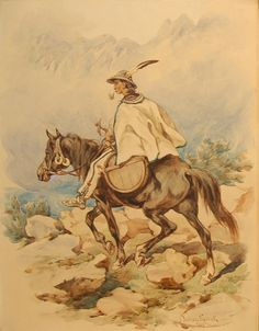 Man Riding on Horseback through the Mountains - Juliusz Kossak