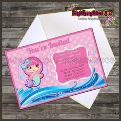 Personalized Mermaid Girl Birthday Invitation Printable Digital File by DigiGraphics4u on Etsy