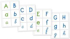 Affichage - Alphabet que l'on peut aussi découper afin de retrouver les différentes écriture d'une lette.