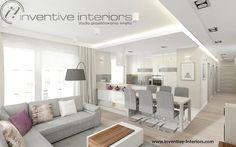 Projekt salonu z aneksem kuchennym Inventive Interiors - beżowo-szary salon z białą otwartą kuchnią