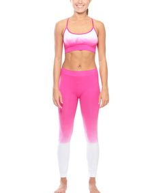 Look what I found on #zulily! Fuchsia & White Dip-Dye Sports Bra & Leggings #zulilyfinds