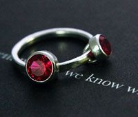 Handmade ruby ring with two settings.