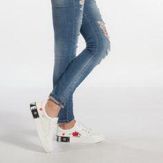 Teniși albi de dama din piele ecologica cu mesaj și imprimeu it240118-45 | Fashionmix.ro