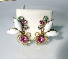 Rhinestone Flower Earrings With White Oval by SunburyVintageStore