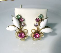 Rhinestone Flower Earrings With White Oval by SunburyVintageStore