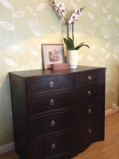 Mahogany serpentine chest of 5 drawers painted in Annie Sloan Graphite