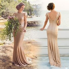 2015 Rose Gold Evening Dresses Jewel Neck Cheap Short Sleeve Mermaid Sequined Lace Open Back Sequins Long Beach Formal Party Prom Gowns Online with $91.46/Piece on Yes_mrs's Store | DHgate.com