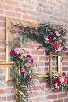 Sophisticated Florals by Stephanie Wedding Wall Decorations, Wedding Props, Wedding Centerpieces, Wedding Reception, Picture Frame Crafts, Floral Backdrop, Frame Wreath, Floral Wall, Flower Art
