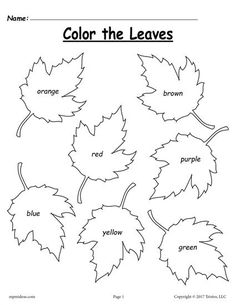 FREE Fall Color Words Coloring Page! This simple fall coloring worksheet is great for preschool and kindergarten. Get the free printable here --> https://www.mpmschoolsupplies.com/ideas/7753/free-fall-leaf-color-words-worksheet/