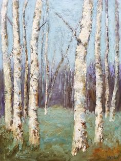 """""""Gathering"""" Original oil painting by Janine Medlin Fine Art, Aspen trees, also seen as Birch trees, original oil painting on wood Oil Paint On Wood, Painting On Wood, Aspen Trees, Golden Leaves, Mountain Paintings, Texture Painting, Rocky Mountains, Oil On Canvas, Fine Art"""