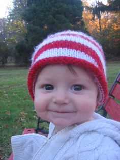 Peppermint Baby Knit Hat Red & White Stripe by WaterBabiesArts, $20.00