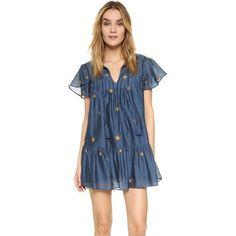TULAROSA Carson Dress ($190) ❤ liked on Polyvore featuring dresses, keyhole dress, pintuck dress, star dress, ruffle sleeve dress and metallic blue dress