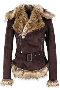 Buckled Suede Coat with Faux Fur Brims... I think I would feel like a viking every time I wore this!