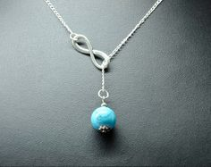 Infinity and howlite turquoise briolette lariat by darlingnecklace, $7.99