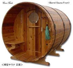 Baumaterialien in hausgemachtem: Fass-Sauna - Barrel Portable Steam Sauna, Sauna Steam Room, Sauna Room, Saunas, Outdoor Sauna, Outdoor Decor, Barrel Sauna, Barrel Projects, Winter Activities
