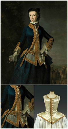 R[obert?] Harvie, Portrait of a lady, three-quarter-length, in a blue coat and skirt, and white waistcoat, with gold embroidered trim, a whip in her right hand, in a landscape, two horses and a groom beyond, 1747, Christie's. Woman's Louis XV-era riding waistcoat, water-green satin with spun-gold passementerie, Thierry de Maigret (http://www.thierrydemaigret.com/html/fiche.jsp?id=1021523&np=1&lng=fr&npp=20&ordre=1&aff=1&r=). CLICK FOR LARGER IMAGES.