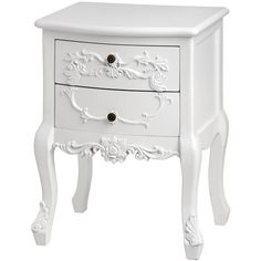 Baroque Two Drawer Bedside Table ($200) ❤ liked on Polyvore featuring home, furniture, storage & shelves and nightstands