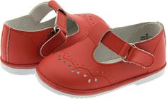 Angel Infant Girls Red Leather T-Strap Mary Janes