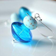 Glass Earrings Aqua Blue Earrings Hollow Glass Earrings por bstrung, $28.00