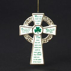 """This lovely and detailed 5"""""""" porcelain cross is inscripted with an Irish prayer. Part of our Irish Themed Tree. The prayer reads, """"""""May the road rise to meet you, May the wind be always at your back,"""