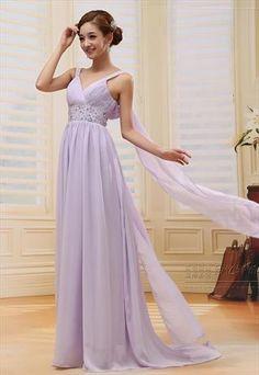 v neck sexy chiffon formal dress