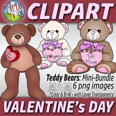 Arts & Pix offers you a fun and colorful Valentine's Day Teddy Bears clipart Mini-Bundle. Contains 6 png high resolution clipart image files: 3 Color and 3 B&W LineArt PNG image files of Teddy Bears - with layer transparency. You can can resize, rotate and overlay as a graphic layer.
