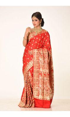 Red - Benarasi Saree - Benarasi Sarees - adi050   Adimohinimohankanjilal