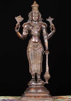 "View the Brass Standing Vishnu Statue 21"""